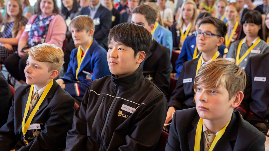 Winning students at the 2018 ceremony in Canberra